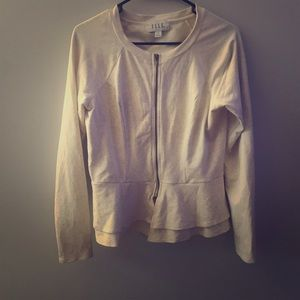 Elle Peplum Zip-up Cardigan Jacket in Cream | R